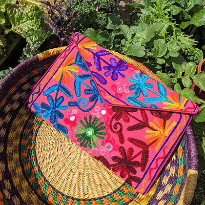 Beautiful Funky Embroidered Pink Bag