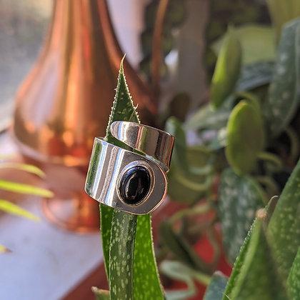 Black Onyx Adjustable Swirl Ring | Sterling Silver