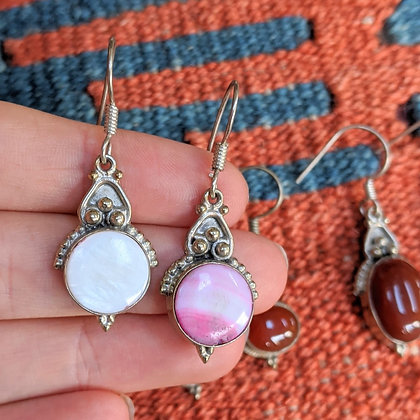 Vintage Pink & White Pearly Gemstone Earrings | Silver Plated