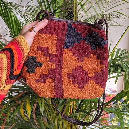 Beautiful Earthy Kilim Woven Wool Bag