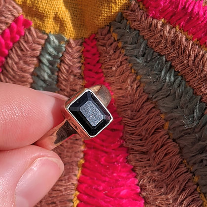 Black Onyx Square Ring   Sterling Silver