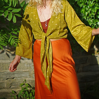 Magical Recycled Olive Wrap Top