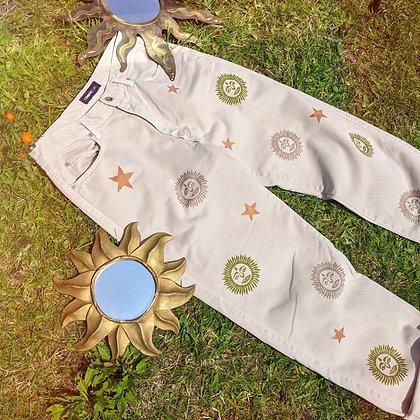 Hand Painted Sun & Stars Jeans