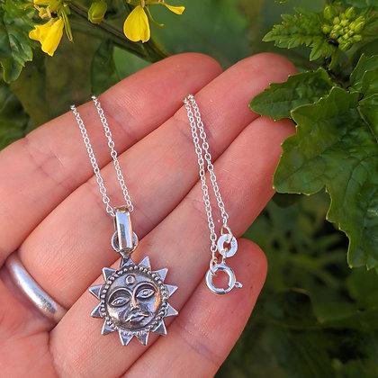 Sun Pendant & Chain | Sterling Silver