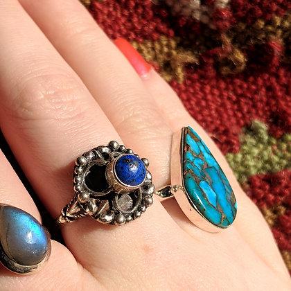 Lapis Lazuli Vintage Ring   Sterling Silver