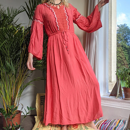 Bohemian Peachy Embroidered Dress