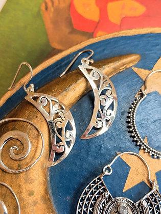 Celestial Moon Earrings   Sterling Silver