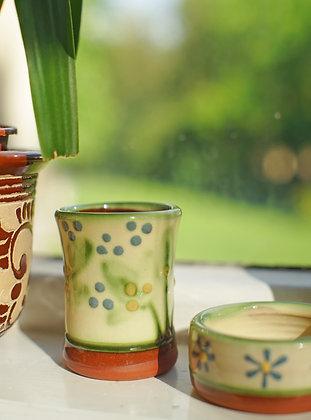 Earthy Ceramic Daisy Glazed Vintage Pot & Dish Set