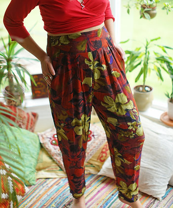 High Waisted Vintage Floral Trousers