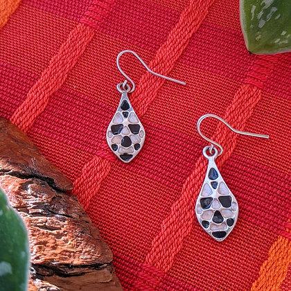 Black Vintage Dangle Earrings   Sterling Silver