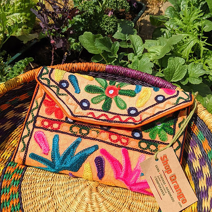 Beautiful Earthy Embroidered Orange Bag