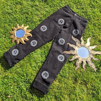 Hand Painted Sun Bum Black Jeans
