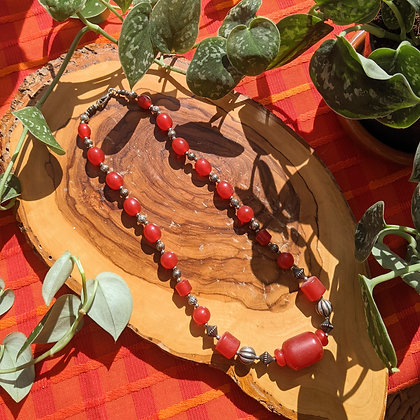 Vintage Chunky Red & Silver Bead Necklace