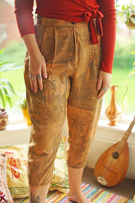 Vintage High Waisted Animal Print Silk Trousers