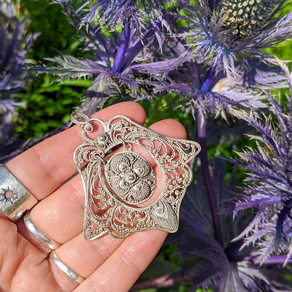 Large Intricate Pendant   Sterling Silver