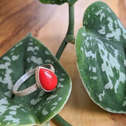 Red Tear Drop Textured Ring | Sterling Silver