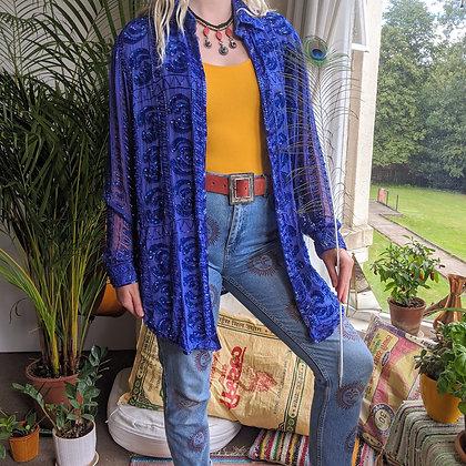 1980's 100% Silk Hand Beaded Jacket / Shirt
