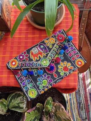 Beautiful Elephant Hand Embroidered Bag