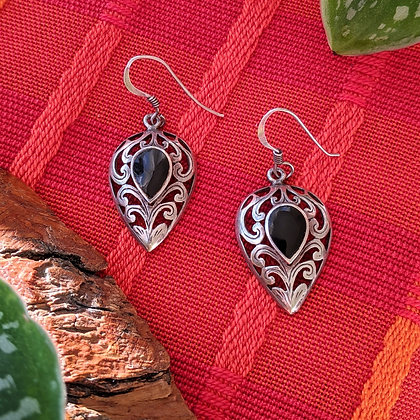 Black Vintage Dangle Earrings | Sterling Silver