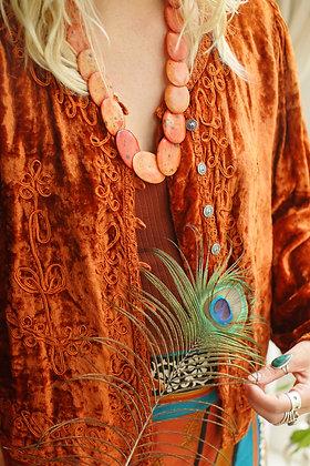 Magical Orange Velvet Embroidered Vintage Jacket