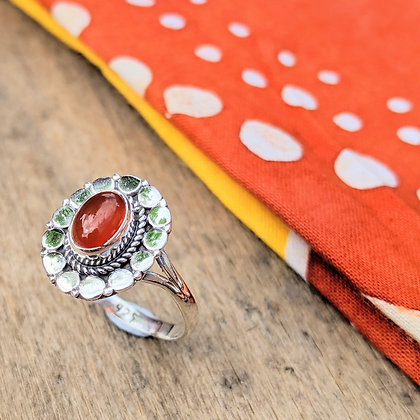 Circle Carnelian Ring | Sterling Silver