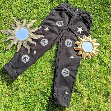 Hand Painted Sun & Stars Black Jeans