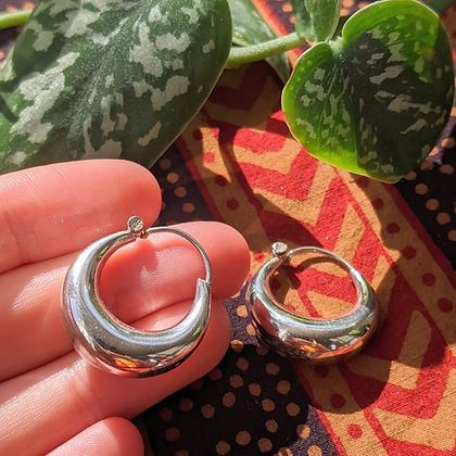 Large Chunky Plain Hoops | Sterling Silver