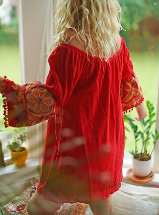 Embroidered Bell Sleeve Red Dress