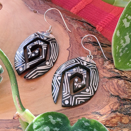 Unique Wooden Carved Earrings | Sterling Silver