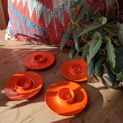 70's Retro Vintage Orange Egg Cup Set