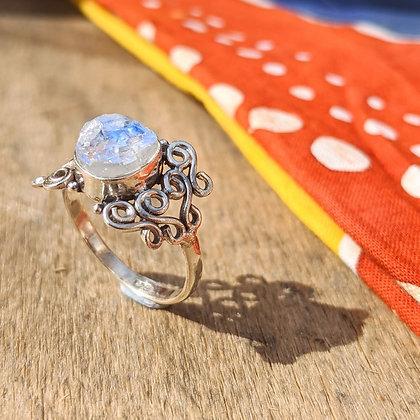 Raw Cut Moonstone Swirl Ring   Sterling Silver