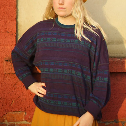 Beautiful Unisex Vintage Purple Stripe Jumper
