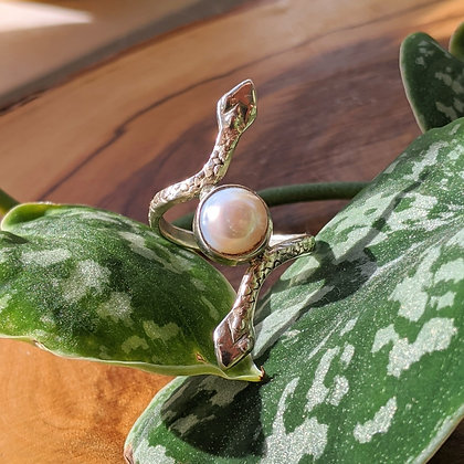 Double Snake Pearl Ring | Sterling Silver