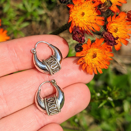 Pattern Chunky Hoops | Sterling Silver