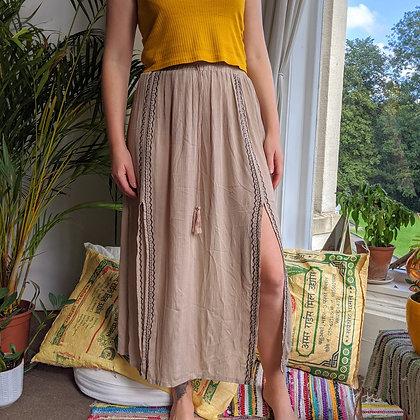 High Waisted Bohemian Midi Skirt