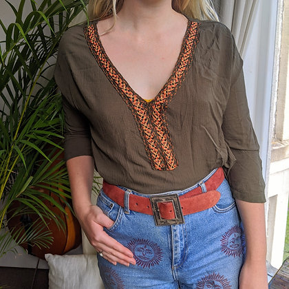 Hippy Embroidered Folk Top