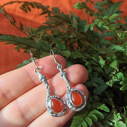 Snake & Carnelian Gemstone Earrings | Sterling Silver