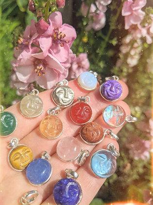 Moon Face Pendant Sterling Silver & Healing Gemstone - Choose Stone