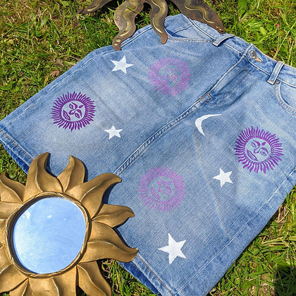 Hand Painted Sun High Waisted Skirt