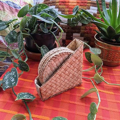 Beautiful Whicker Basket Set of Coasters