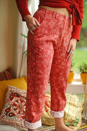 Floral High Waisted Vintage Denim Jeans