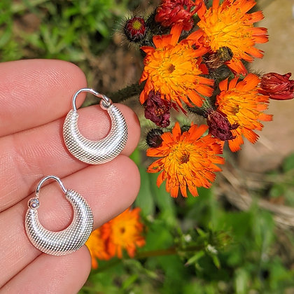 Textured Chunky Hoops | Sterling Silver