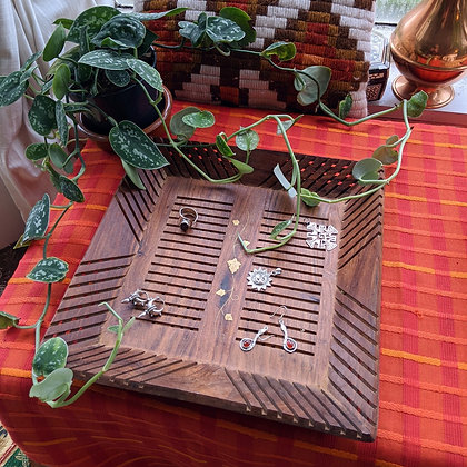 Beautiful Large Vintage Wooden Square Tray