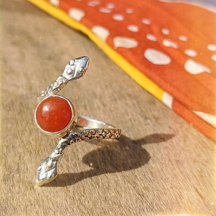 Double Snake Carnelian Ring | Sterling Silver