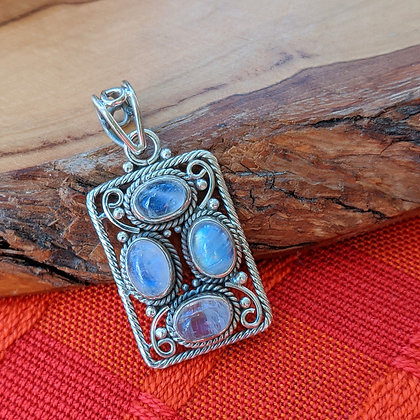 Large Moonstone Pendant | Sterling Silver