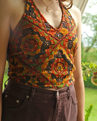 Magical Embroidered & Mirror Vintage Halter Neck Top