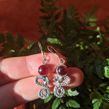 Snake & Garnet Gemstone Earrings | Sterling Silver