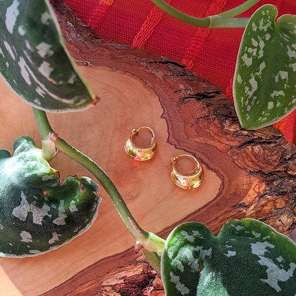 Smaller Chunky Plain Hoops   Gold