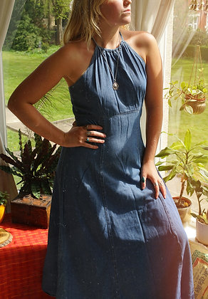 Beautiful 70's Vintage Halter Neck Denim Dress