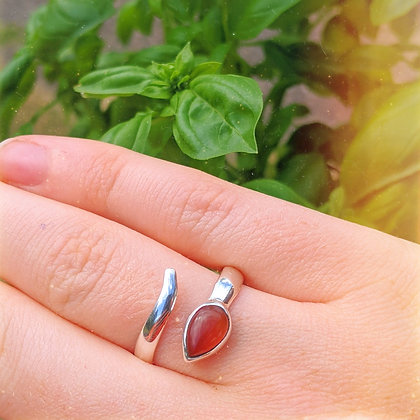 Carnelian Chunky Adjustable Ring | Sterling Silver